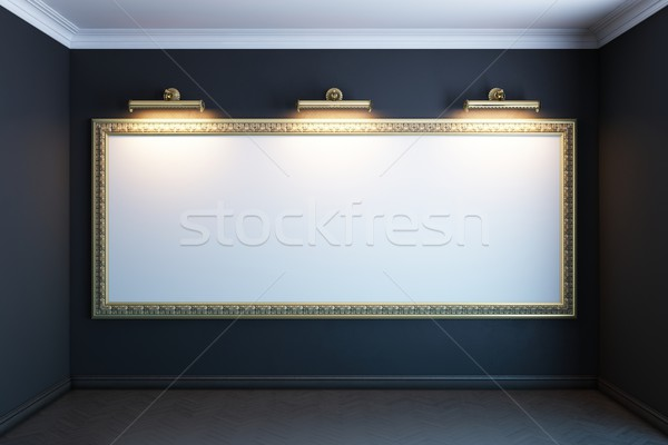 gallery interior with golden frame and lighters(black version) Stock photo © vizarch
