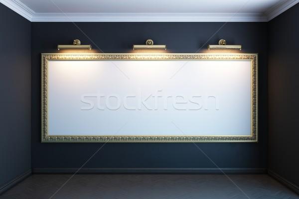 Galeri iç altın çerçeve versiyon duvar Stok fotoğraf © vizarch