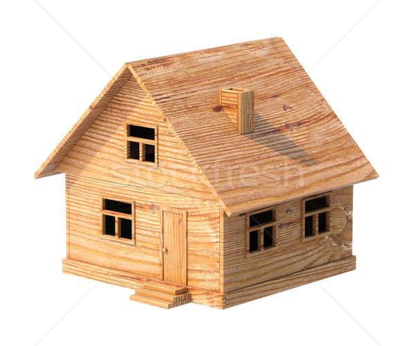 Sklejka zabawki domu odizolowany biały budynku Zdjęcia stock © vizarch