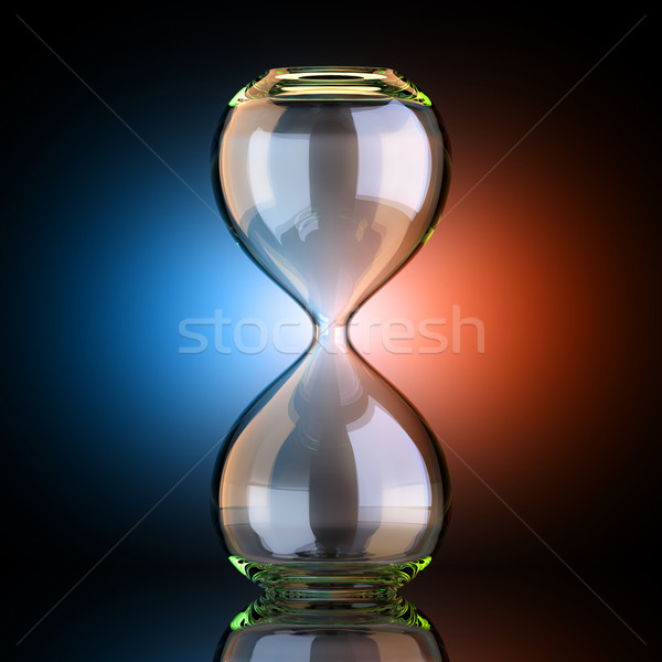 Empty Sand Clock In Black Studio With Artistic Backlight  Stock photo © vizarch