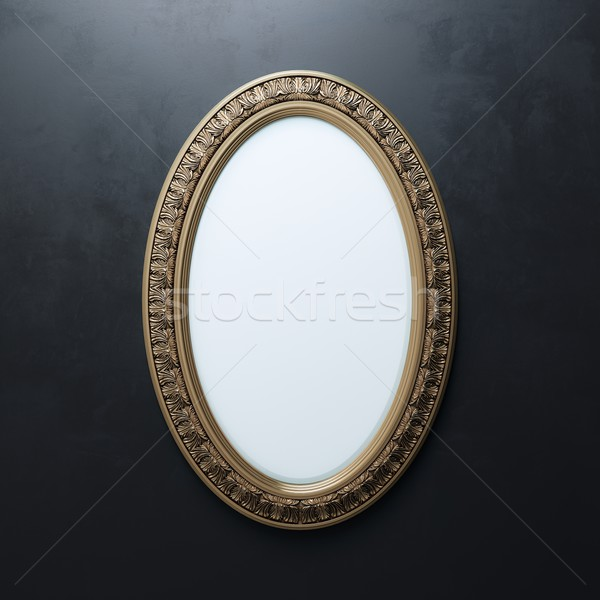 Stock photo: Carved Frame On Black Wall (Oval Vertical Version)