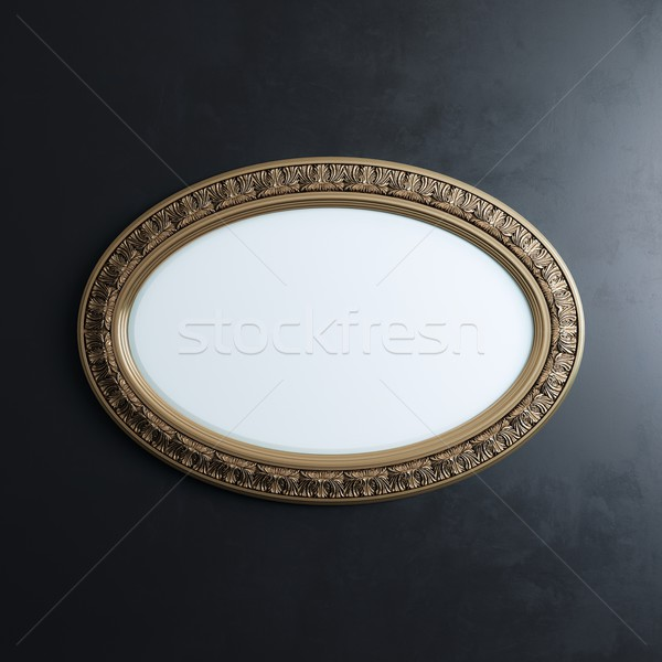 Classic Carved Frame On Black Wall (Oval Horizontal Version) Stock photo © vizarch