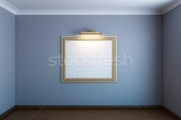 Szürke galéria szoba klasszikus keret fal Stock fotó © vizarch