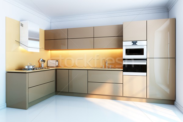 new kitchen interior with brown lacquer boxes facades Stock photo © vizarch