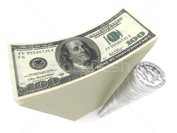 stack of banknotes and coins of dollars on isolated white Stock photo © vizarch