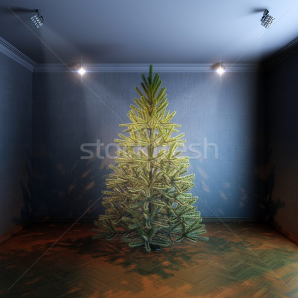 Christmas Tree in room with haze light Stock photo © vizarch
