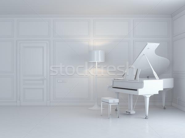 white piano in a white interior Stock photo © vizarch