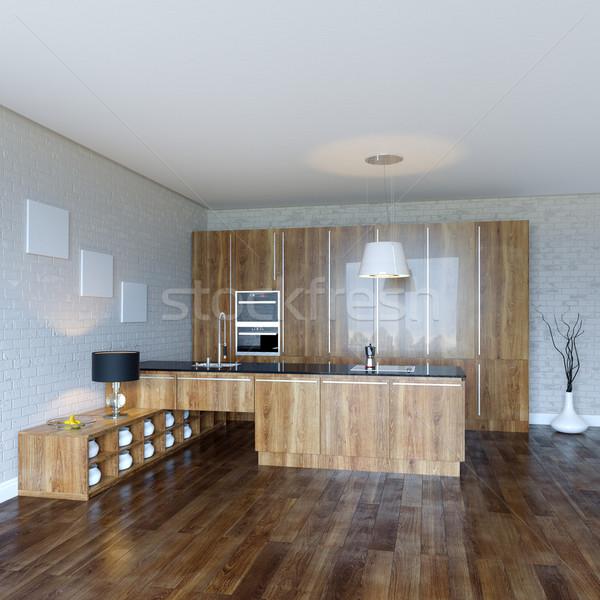 Fából készült konyhaszekrény fa konyha űr asztal Stock fotó © vizarch