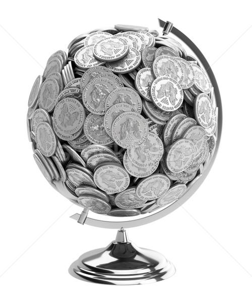 Ajándék üzletember földgömb érmék izolált fehér Stock fotó © vizarch