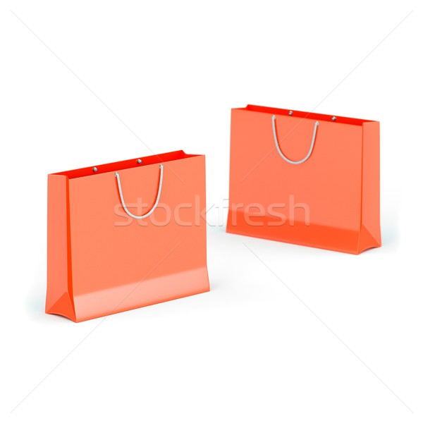 Stock fotó: Kettő · piros · papír · bevásárlótáskák · izolált · fehér
