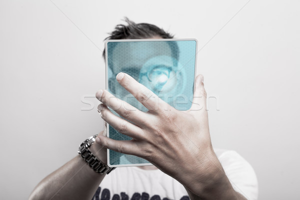 Man with glass tablet pc Stock photo © vizualni