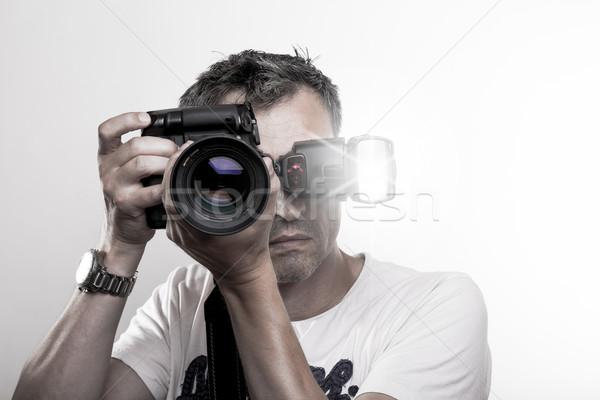 Yüz atış fotoğrafçı portre profesyonel dslr Stok fotoğraf © vizualni