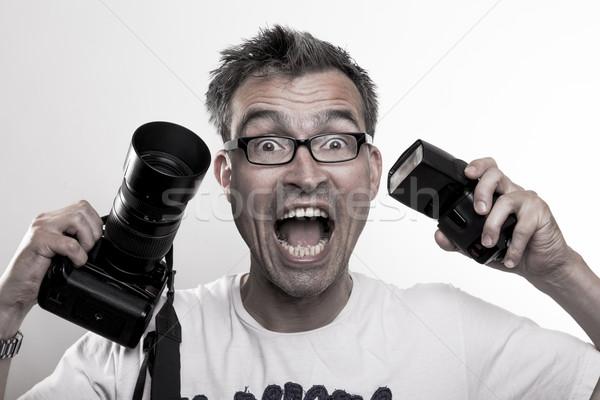 Portrait of a crazy photographer Stock photo © vizualni