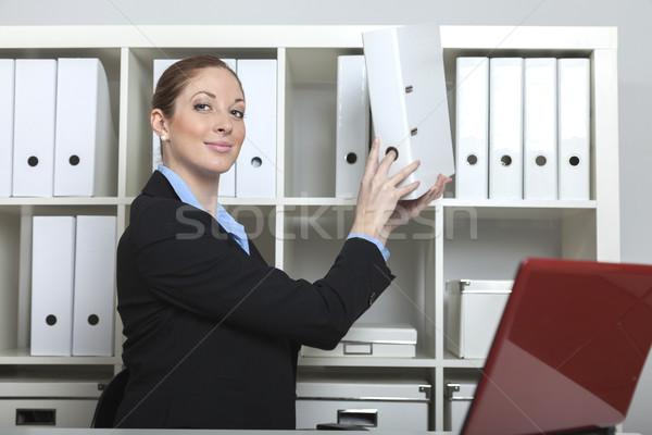Sekreter Klasör akıllı iş gülümseme çalışmak Stok fotoğraf © vizualni