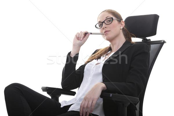 Menedzser uralkodó nő irodai szék női okos Stock fotó © vizualni