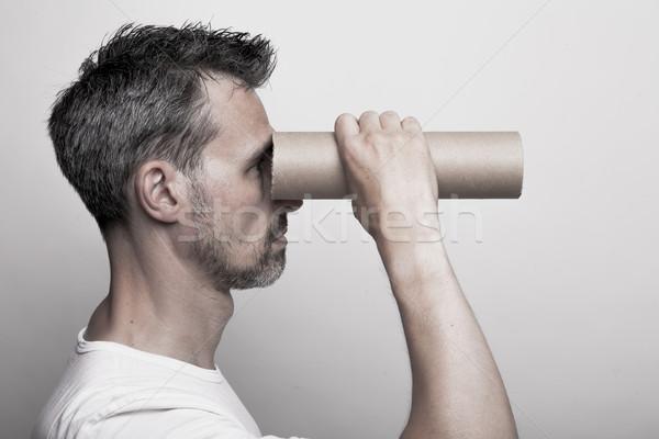 ストックフォト: を見て · 無限 · 男 · あごひげ · ルックス · 段ボール
