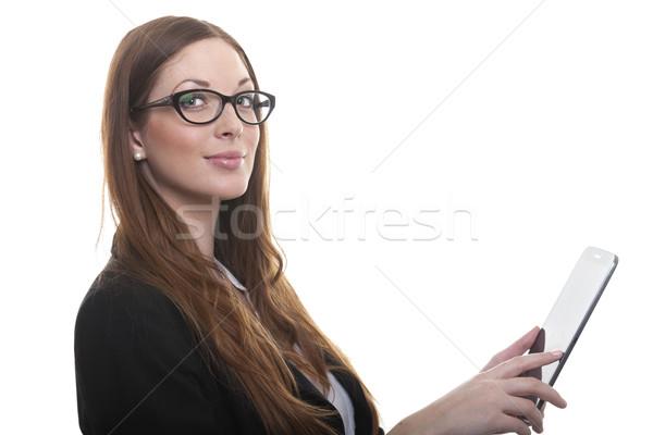 Işkadını akıllı gülen gözlük genç Stok fotoğraf © vizualni