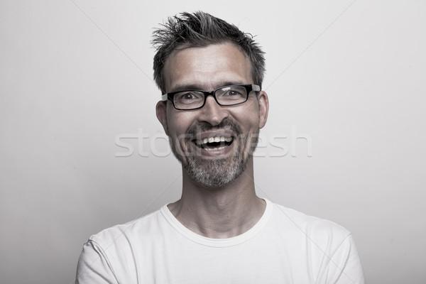 Portre mutlu gülen adam sakal gözlük Stok fotoğraf © vizualni
