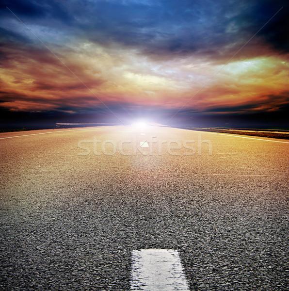 アスファルト 道路 フィールド 嵐の 暗い 曇った ストックフォト © vkraskouski