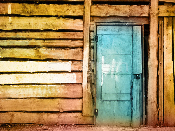 Verniciato sporca vintage legno porta muro Foto d'archivio © vkraskouski
