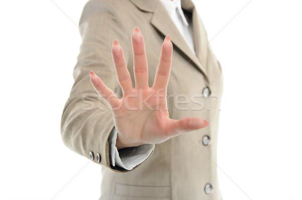 El takım elbise dokunmak bir şey parmaklar kadın Stok fotoğraf © vkraskouski