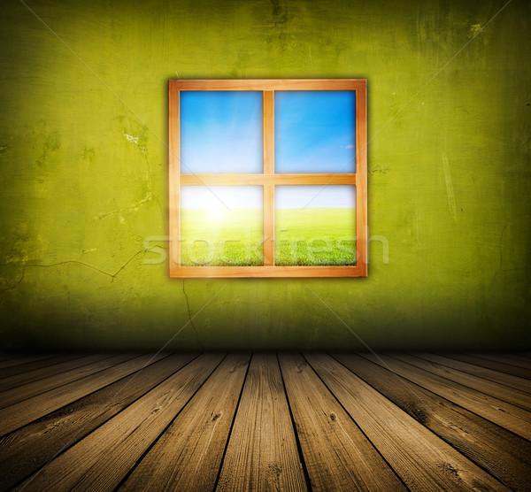 Klasszikus belső ablak zöld szoba fapadló Stock fotó © vkraskouski