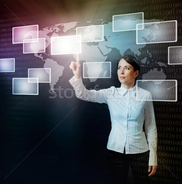 Nő toló virtuális gomb háló interfész Stock fotó © vkraskouski