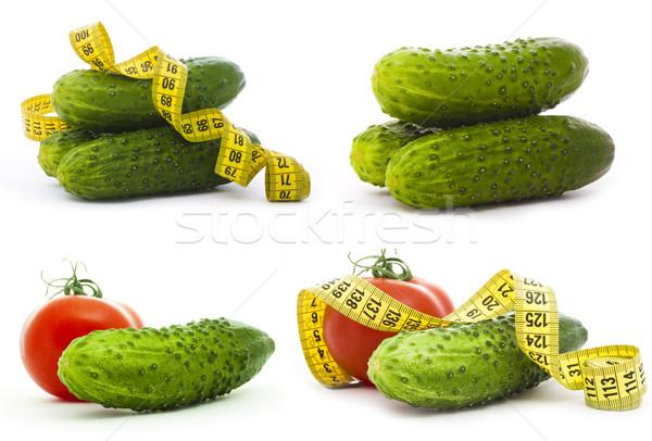 Egészséges étel paradicsom uborka szalag izolált fehér Stock fotó © vkraskouski