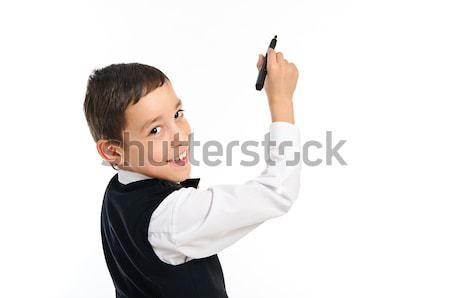 школьник рисунок пер изолированный белый портрет Сток-фото © vkraskouski