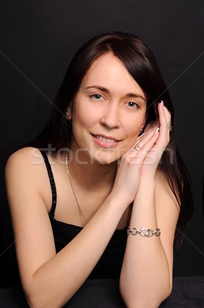 Genç gülen esmer kadın Stok fotoğraf © vkraskouski
