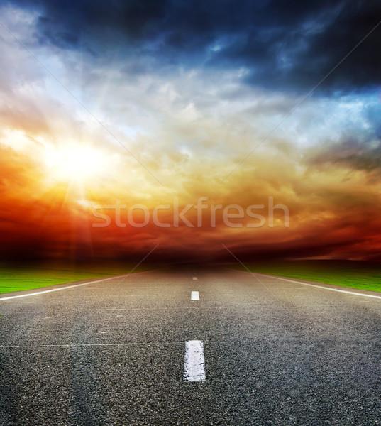 дороги области бурный темно облачный небе Сток-фото © vkraskouski