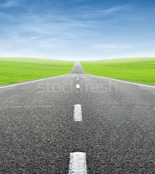 Zöld mező út kék ég utazás égbolt Stock fotó © vkraskouski