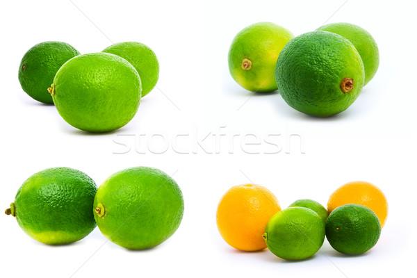 Cítrico conjunto laranjas isolado branco verde Foto stock © vkraskouski
