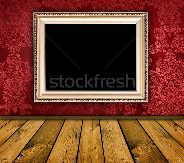 Vintage interior vermelho vazio quadro parede Foto stock © vkraskouski