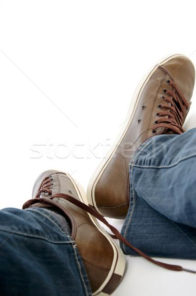 Erkek bacaklar kahverengi ayakkabı kot Stok fotoğraf © vkraskouski
