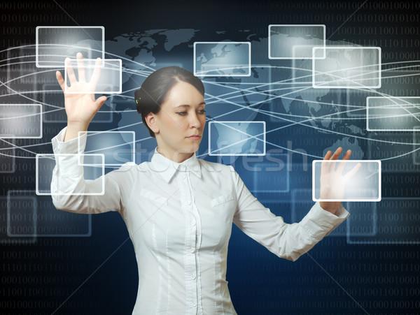 Zdjęcia stock: Kobieta · popychanie · ikona · internetowych · interfejs · business · woman