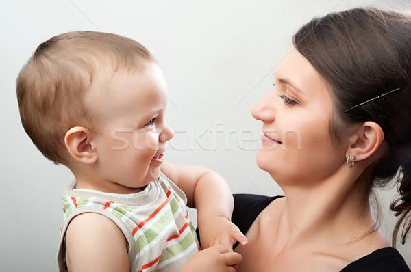 Anya kisgyerek fehér portré boldog fiatal Stock fotó © vkraskouski