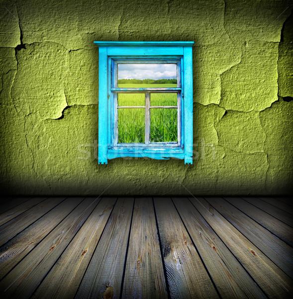 Foto stock: Escuro · vintage · verde · quarto · janela · campo