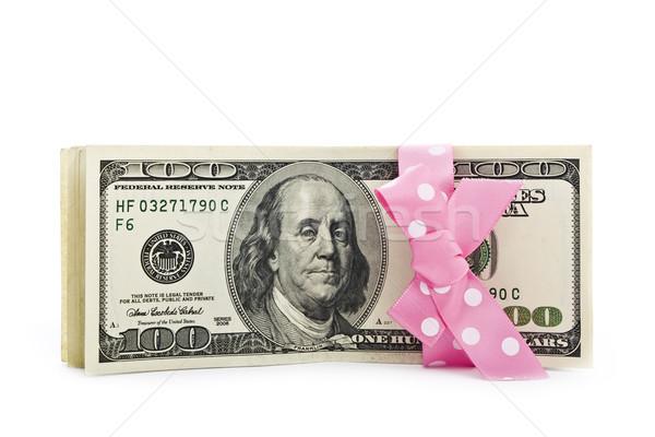 Dollár bankjegyek íj számlák boglya gyönyörű szalag Stock fotó © vkraskouski