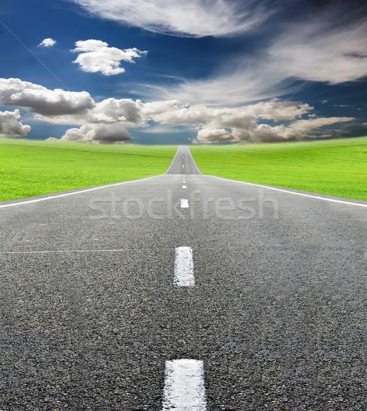 Groene veld weg blauwe hemel reizen natuur Stockfoto © vkraskouski