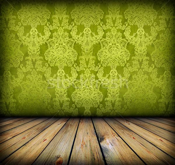 Sötét klasszikus zöld szoba fapadló művészi Stock fotó © vkraskouski