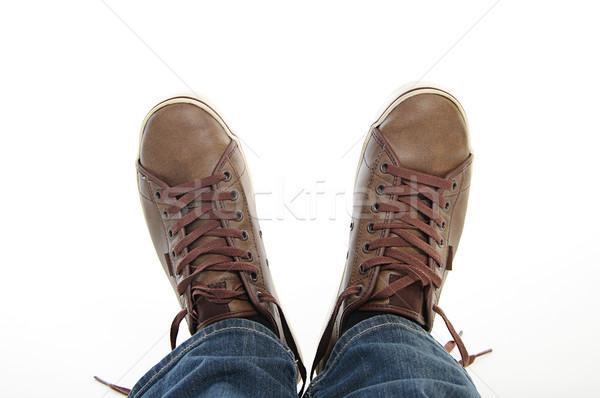Pernas marrom sapatos jeans masculino Foto stock © vkraskouski