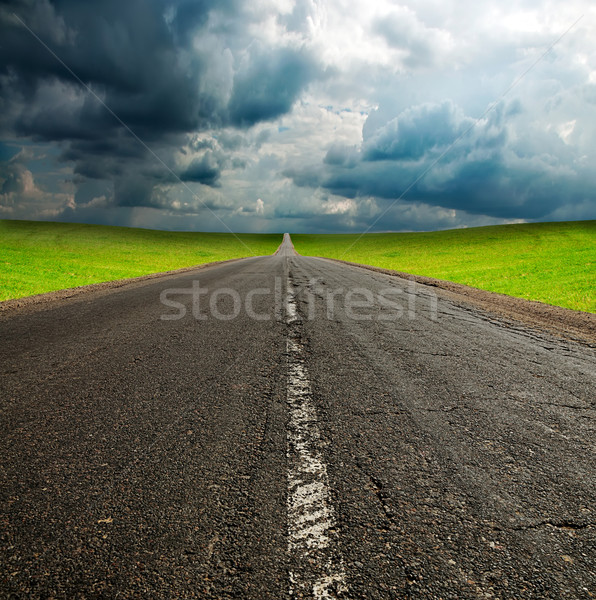 Yol yeşil alan mavi gökyüzü eski kırık Stok fotoğraf © vkraskouski