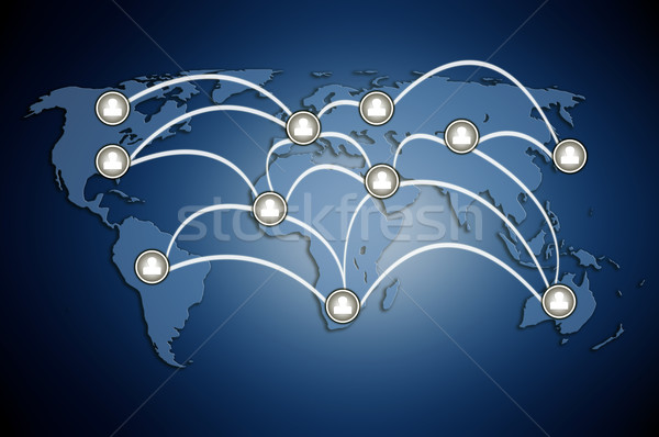 Foto stock: Humanos · modelos · junto · red · social · patrón · mapa · del · mundo