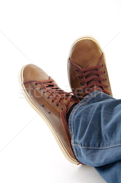 Bacaklar kahverengi ayakkabı yalıtılmış Stok fotoğraf © vkraskouski
