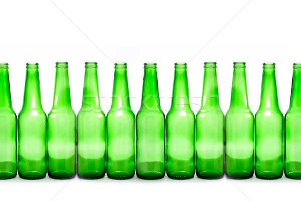 Foto stock: Garrafas · verde · isolado · branco · aniversário · álcool