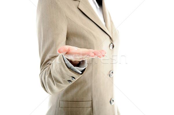 Feminino mão algo branco Foto stock © vkraskouski