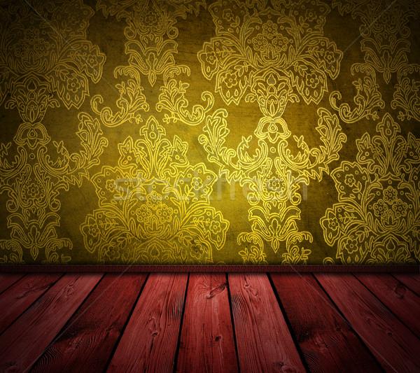 Sarı bağbozumu oda karanlık kırmızı zemin Stok fotoğraf © vkraskouski