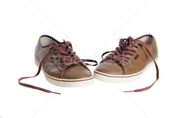 коричневый кожа кроссовки изолированный два белый Сток-фото © vkraskouski