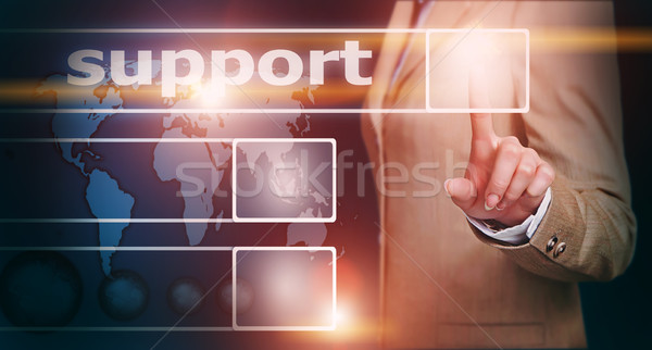 hand pressing support button Stock photo © vkraskouski